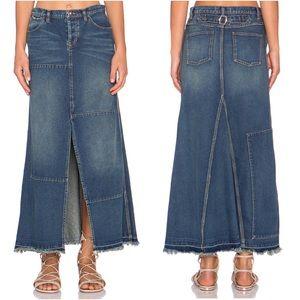 Free People Patchwork Maxi Denim Skirt